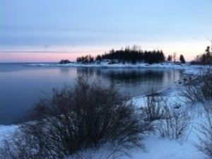 Winter sunset at Sugarloaf Cove