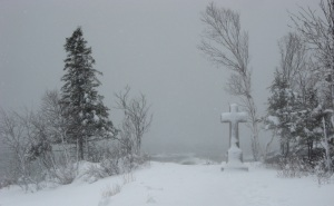 Snow storm at Father Baraga's Cross. 4-19-13